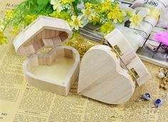 Jewelry Box Wood Love Heart Shape DIY Mud Base Art Decor Children Kid Baby Wooden Crafts Toys free shipping-in Figurines &…