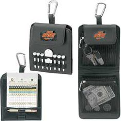 """#60493Folding Golf Caddy/Score Card Holder    Folding Golf Caddy features 6 2-1/8"""" tees, 1 ball marker, 1 natural unimprinted golf pencil and 1 divot repair tool. Metal carabiner can be easily clipped on golf bag  View all unique & low cost golf tournament gifts &  logo printed giveaway items at IMPRINTGOLF.   www.imprintgolf.com"""