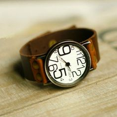 Leather Women Watch Leather Watch for Women by WatchDiva Brown Leather Strap Watch, Leather Watch Bands, Watch Necklace, Jewelry Watches, Jewelry Box, Vintage Watches, Fashion Watches, Leather Men, Style Watch