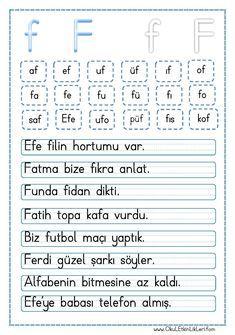 """"""" f """" Sesi Hece ve Cümle Okuma Metni pdf formatında özgün bir çalışma olarak hazırlanmıştır. Aşağıda bulunan linkten kolayca indirebilirsiniz. Tüm çalışmalarımızı kendi emeklerimizle.."""