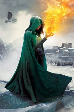 Falling Kingdoms-Book 4-Frozen Tides by N3gated.deviantart.com on @DeviantArt | Fatasy art | Lady in green hood, fire and ice