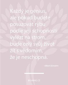 Takže lidi, přestaneme pořád řešit, v čem jsme na prd a budeme víc myslet na to, v čem jsme geniální... 😉 Co vy na to?  Motivační citát Albert Einstein Story Quotes, Albert Einstein, Motto, True Stories, Depression, Inspirational Quotes, Words, Diy, Quotes