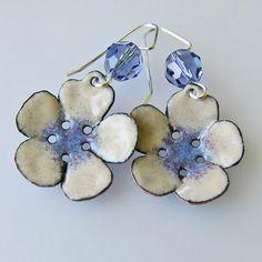 Flower Earrings Purple Earrings Enamel Jewelry by OxArtJewelry,