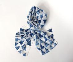 Triangle silk cotton Scarf Indigo -  Hand painted lightweight Silk Cotton blend.