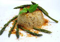 Risotto de quinoa con espárragos y botarga