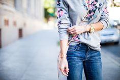 Grey Floral Top + Denim + Light Pink Details