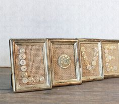 Vintage Inspired Burlap Button Love in Silver Plate Patina Frames