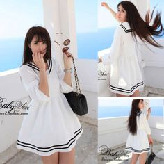 Womens-New-White-Sailor-Collar-Uniform-Girls-Preppy-Style-Cute-Casual-Dress