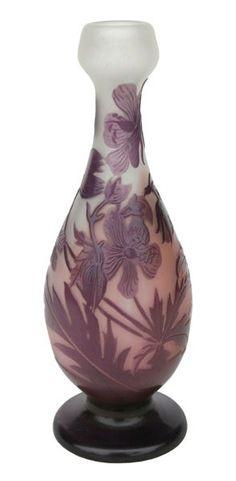 Émile Gallé | Glass vase with deep purple color.