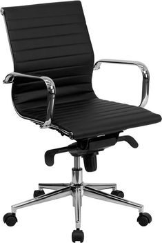 Flash Furniture Mid-Back $206.00 Black Ribbed Upholstered Leather Swivel Conference Chair