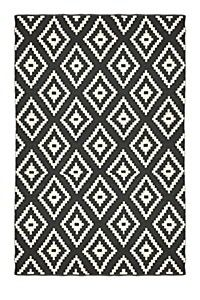 Jacquard Diamond Rug.  200X300 Cm.  I had my heart set on a black and white broken stripe but I decided to go ahead and see what this one looked like in the living room since it was a very affordable option and more importantly, available locally.  The picture actually does not do it justice.  It looks much better up close and in my living room.