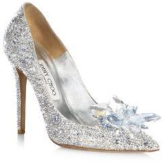 """Jimmy Choo Crystal Suede Point Toe Pumps - Shimmering suede pumps featuring a crystal cluster. Self-covered heel, 4"""" (100mm) .Goatskin/crystal/leather/salpa/plastic/metal upper. Point toe. Calf sole. Made in Italy. #spon"""