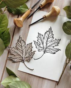 linocut prints printmaking Autumn linocut by Alisa Byk Stamp Printing, Screen Printing, Lino Art, Stamp Carving, Handmade Stamps, Linoprint, Flower Stamp, Linocut Prints, Fabric Painting