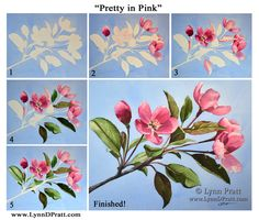 "Step by step, how to art, watercolor painting by Lynn D. Pratt ""Pretty in Pink"", apple tree blossom, pink flower, spring"