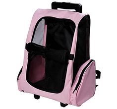 Tenive Airline Approved Pet Carrier Traveler Roller Backpack with Wheels for Dogs and CatsPink