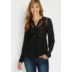 maurices Blouse With Goldtone Metallic Stitched Lace ($29) ❤ liked on Polyvore featuring tops, blouses, black, black metallic top, black lace blouse, black top, lace top and metallic top