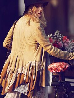 """Suede jacket with embroidered lace from Free People """"Girls on Bikes""""."""