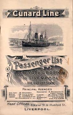On this day 18th April 1912, The Cunard Liner RMS Carpathia brought 705 survivors of RMS Titanic that had sunk on 15th April, 1912 to New York after colliding with an iceberg on her maiden voyage from Southampton, England  (Passenger List, Cunard Line R.M.S. Carpathia, 1904, New York to Liverpool) B. Lowe
