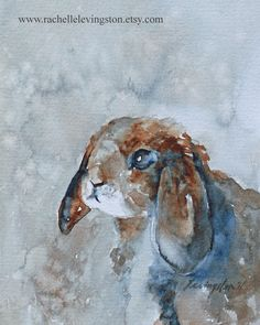Bunny painting of bunny art PRINT of Bunny print (Baby nursery print bunny artwork in blue brown) Large 11 x14 Cute Shabby Chic Cottage Chic.