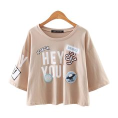 X220 women summer cute letter print badage patch o neck loose t shirt ladies casual european t shirts tops -in T-Shirts from Women's Clothing & Accessories on Aliexpress.com | Alibaba Group