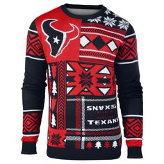 Houston Texans Patches Ugly Crew Neck Sweater from UglyTeams
