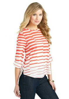 5421beb98d1d6 Cato Fashions Striped Tab Sleeve Top - Plus  CatoFashions Plus Size Shirts