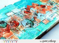 Art journal spread by Fiona Paltridge Art Journal Pages, Art Journals, Scrapbook Layouts, Scrapbooking, Journalling, Mixed Media Art, Cotton Candy, Dots, Dreams