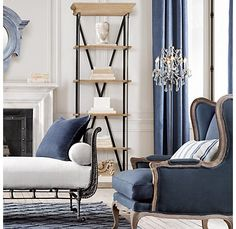 Blue drapery against white walls (or subtle gray)