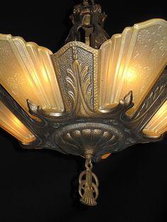 Arts & Crafts Light Fixture with Original Finish Art Deco Art Deco Lighting, Lighting Design, Lighting Ideas, Chandeliers, Art Nouveau, Vintage Industrial Lighting, Industrial Furniture, Outdoor Post Lights, Vintage Light Fixtures