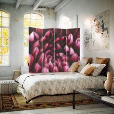 Ciemnoczerwone płatki kwiatów, Parawan ozdobny dwustronny na płótnie - Canvas