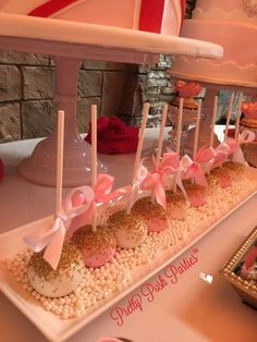 Pretty cake pops at a London birthday party! See more party planning ideas at Ca. Baby Shower Princess, Princess Birthday, Girl Birthday, Cake Birthday, Princess Party, Candy Table, Candy Buffet, Sweet Sixteen, Pink Gold Party