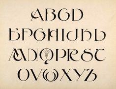 1910 black and white print of an Art Nouveau alphabet design --upper case.
