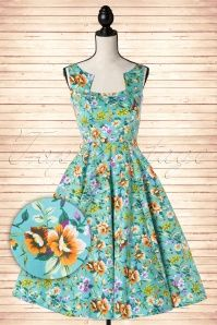 Hearts and Roses Hawaii Blue Floral Tropical Swing Dress 102 39 15199 20150124 0012pop2