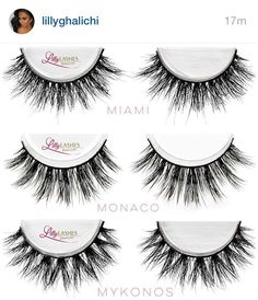 "My 3 Favorite Mink are finally restocked ""Miami""- Fluttery lash glam ""Monaco""- A more dramatic Miami ""Mykonos""- All out drama! Grab your Mink pair at .com before they sell out again! Makeup Goals, Makeup Inspo, Makeup Inspiration, Skin Makeup, Makeup Brushes, Beauty Makeup, Makeup Tips, Fake Eyelashes, False Lashes"