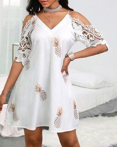 Chic Type, Trend Fashion, Fashion Prints, Fashion Fashion, Fashion Online, Casual Dresses, Fashion Dresses, Midi Dresses, Crochet Lace Dress