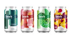 2 Towns Ciderhouse joins the hard seltzer fray when it launches its new line of SeekOut Real Hard Seltzer in March Water Packaging, Juice Packaging, Beverage Packaging, Coffee Packaging, Bottle Packaging, Food Packaging Design, Packaging Design Inspiration, Food Branding, Fruit Juice Brands