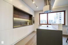 Kłobucka - Duża otwarta kuchnia dwurzędowa w aneksie z wyspą, styl nowoczesny - zdjęcie od Qbik Design