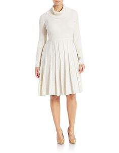 Calvin Klein Plus - Plus Ribbed Knit Metallic Dress Classic Feminine Style, Metallic Dress, Threading, Lord & Taylor, Plus Size Dresses, Turtleneck, Calvin Klein, High Neck Dress, Knitting