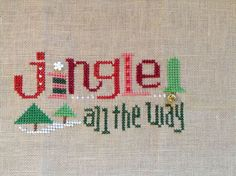 completed cross stitch Lizzie Kate Christmas Jingle all the way!