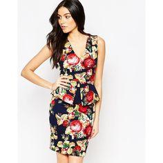 Vesper Vixen Printed Peplum Midi Dress ($62) ❤ liked on Polyvore featuring dresses, navy, v neck dress, navy bodycon dress, white body con dress, navy dress and white peplum dress