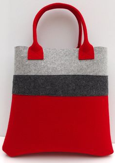 Handmade Bag, Felt Tote, Red and Gray Shopper, Shopping Bag, Wool Felt Shopper
