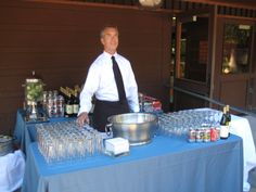 Bartender Mike ready to go! This is a wine/beer bar setup.