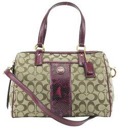ba710a7fb4e0 Coach 24884 Khaki  amp  Raspberry Signature Stripe Python Satchel Handbag  Coach