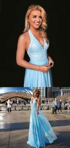 Blue Halter Backless Beading V Neck Tulle Long Prom Gowns 0766 by RosyProm, $153.99 USD