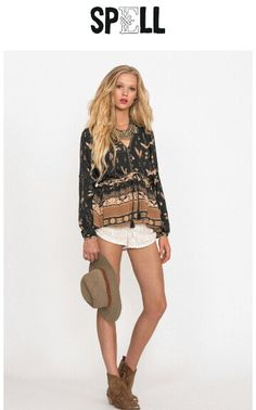 Spell blouse, with some high waisted jeans or one teaspoon shorts