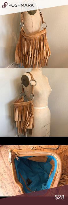 Suede Fringe shoulder bag Stacy Lynn suede shoulder bag. Double silver ring detail. Turquoise blue suede lining. Stacy Lynn Bags Shoulder Bags