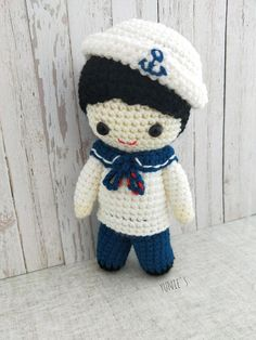 Crochet pattern Doll : Nautical Sailor Boy Doll Amigurumi Crochet Pattern ,Baby sailor, Little sailor Adorable Nautical sailor boy is designed for a mummy-to-be who wanted to make a toy for her baby boy! Completed Sailor boy is about 20 cm tall Grab a copy and start crocheting today! A 8
