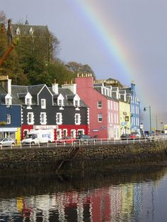 Rainbow, Tobermory, Scotland (the town from Balamory! West Coast Scotland, Fort William, Scottish Islands, Scotland Travel, Over The Rainbow, British Isles, Great Britain, Beautiful Places, Amazing Places