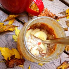 Apple Peanut Butter Overnight Oats - eat warm or cold, great way to serve steel cut oats.