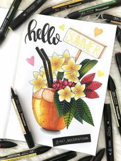 สวยจ้า Bullet Journal Notebook, Bullet Journal Ideas Pages, Bullet Journal Inspiration, Copic Marker Drawings, Color Pencil Art, Art Sketchbook, Doodle Art, Book Art, Doodles